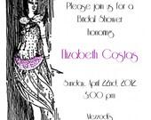 Roaring Twenties Flapper Girl Printable Bridal Shower Invitation