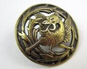 antique button dragon beast brass