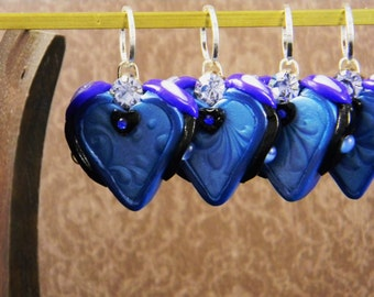 Set of Seven Blue Hearts Knitting Stitch Markers
