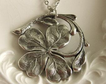Four Leaf Clover Shamrock Necklace Best Friend Gift Charm Necklace vintage silver