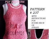 CROCHET PATTERN, number 237, Tank Top, size 1 to Adult xx Large, women, teens, children, clothing, sweater