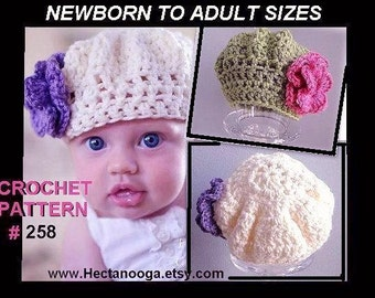 Hat crochet pattern, STARLETTE BERET,  num 258,  ALL  sizes newborn to adult, sell your finished hats, Instant digital download