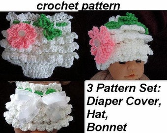 BABY crochet pattern, ruffled pants -diaper cover, hat, and bonnet, all 3 patterns... sizes newborn to age 2, PDF digital pattern,  num. 534