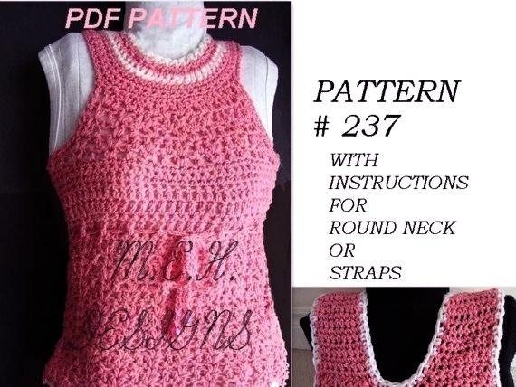 Crochet Pattern Number 237 Tank Top Size 1 To Adult Xx