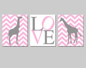 Chevron Giraffe Love Nursery Art Trio - Set of Three 11x14 Prints - CHOOSE YOUR COLORS - Shown in Pink, Gray, and More