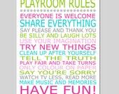 Playroom Rules - 11x14 Quote Print - Modern Nursery Childrens Decor - Kids Wall Art - Nursery Decor - Nursery Wall Art - CHOOSE YOUR COLORS