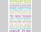 Playroom Rules - 13x19 Quote Print - Modern Nursery Childrens Decor - Kids Wall Art - Nursery Decor - Nursery Wall Art - CHOOSE YOUR COLORS