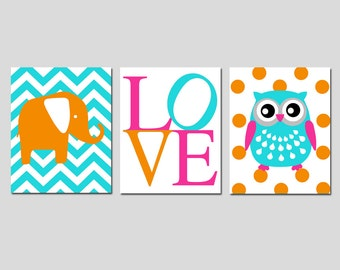 Baby Girl Nursery Decor Art - Chevron Elephant, Love, Polka Dot Owl - CHOOSE YOUR COLORS - Set of Three 11x14 Prints