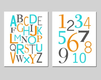 Nursery Alphabet and Numbers Set of Two 8x10 Nursery Art Prints - Kids Wall Art - Educational - CHOOSE YOUR COLORS