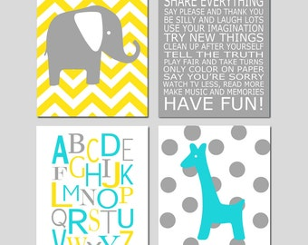 Playroom Rules Nursery Art - Chevron Elephant, Modern Alphabet, Polka Dot Giraffe - Set of Four 8x10 Prints - CHOOSE YOUR COLORS