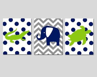 Jungle Nursery Art Trio - Set of Three 11x14 Chevron Polka Dot Animal Prints - Alligator, Elephant, Turtle - Safari - CHOOSE YOUR COLORS