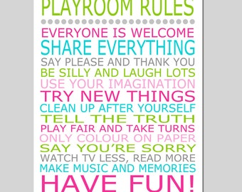 Playroom Rules - 11x14 Quote Print - Modern Nursery Childrens Decor - Kids Wall Art - Nursery Decor - Nursery Wall Art - CHOOSE YOUR COLORS