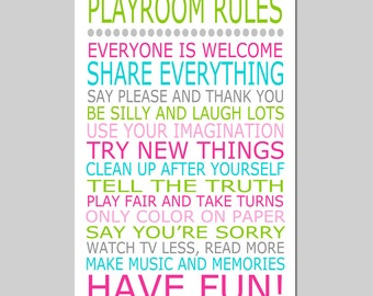 Playroom Rules - 13x19 Quote Print - Modern Nursery Childrens Decor - Kids Wall Art - Nursery Decor - Nursery Wall Art - CHOOSE YOUR COLORS