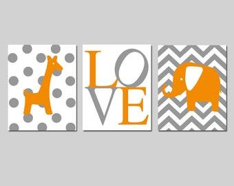 Orange and Grey Nursery Decor Orange Gray Nursery Wall Art Set of 3 Prints - Chevron Elephant, Love, Polka Dot Giraffe - CHOOSE YOUR COLORS