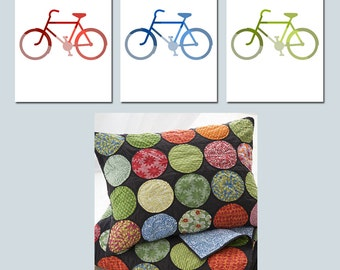 I Love Bikes - Set of Three 8x10 Bicycle Prints - Choose Your Colors - Nursery or Kids Wall Art