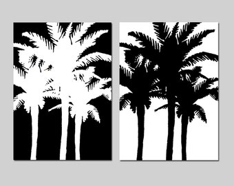 Palm Tree Duo - Set of Two 5x7 Tropical Prints - Wall Art - CHOOSE YOUR COLORS - Shown in Black and White