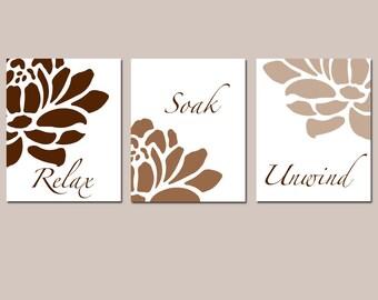 Neutral Tan Brown Floral Bathroom Art - Relax, Soak, Unwind - Flowers Petals Bathtub Spa - Set of Three 11x14 Prints - CHOOSE YOUR COLORS