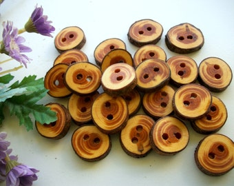 20 Wood Buttons  English Yew Tree Branch Wooden Buttons  - 3/4 to1 inch   for Knitting, Crochet Sewing, Projects