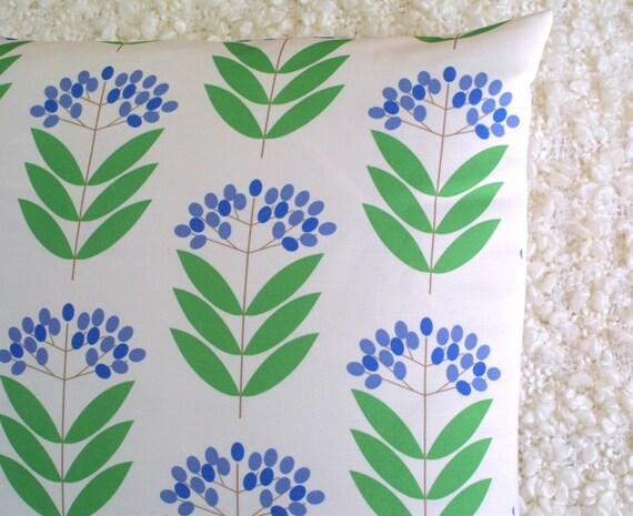 Blue Elderberry Scandi Print Cushion Cover Throw Pillow Sham