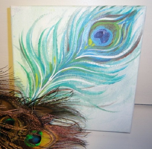 Feather painting peacock feather art abstract painting for Painting feathers on canvas