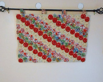 Vibrant YOYO COLLAGE Tapestry, Raised Red Green Blue White Circles Geo Stripes, Lady Face Tabs Rustic Cream Burlap Fabric Art Wall Decor