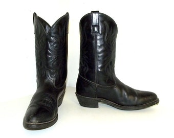 Black  on black leather cowboy boots 10.5 D or womens size 12 - Laredo brand