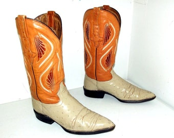 Orange and Cream Ostrich Cowboy Boots size 8 D or cowgirl size 9 to 9.5