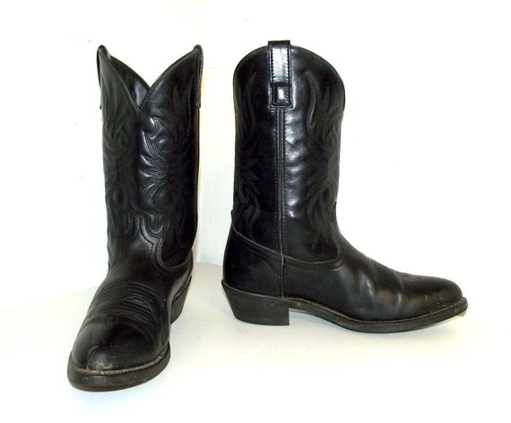 black on black leather cowboy boots 10 5 d or womens size 12