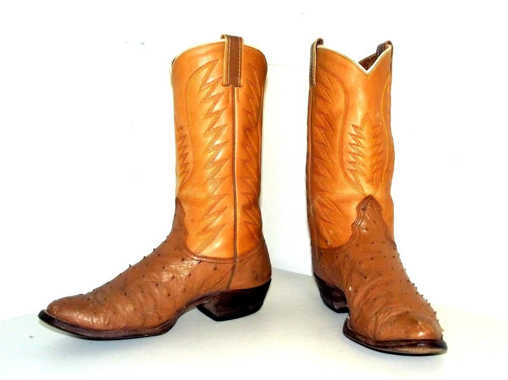 nocona cowboy boots ostrich leather size 9 5 d or