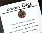 Dream Big - Copper Dreamcatcher Charm - Wish Bracelet - Shown In BLACK - Over 100 Different Colors Are Also Available