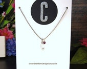 All About You - Custom Made Initial Necklace With Swarovski Birthstone - Shown Here With February - Amethyst - Letter C
