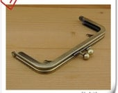 6 inch  x 2 1/2 inch Brushed anti bronze purse frame with loops   (puse making supplies) L12