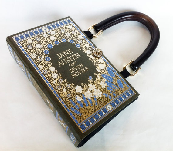 Jane Austen Leatherbound Book Purse - Jane Austen Follower Gift - Book Cover Purse - Jane Austen Bookish Accessory - Jane Austen Handbag