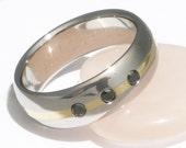 Black Diamond Titanium Wedding Band - Gold Inlay with Black Diamonds Ring - bd20