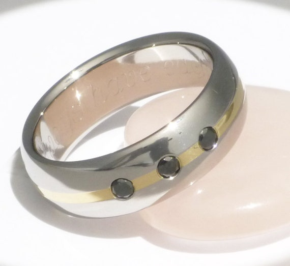 Black Diamond Titanium Wedding Band - Gold Inlay with Black Diamonds Ring - bd20