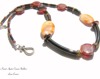 Ceramic Statement Necklace Brown Necklace Agate Beaded Necklace Gifts for Women Gifts Jewelry Gifts Natural Necklace