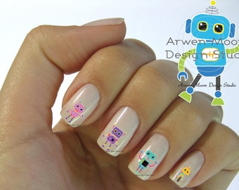 Funky Fun Cute Little Colorful Robots Collection Nail Art Waterslide Water Minitures Decals - fm_005
