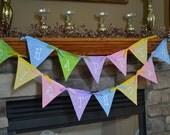 Sale - Happy Birthday Fabric Pennant Banner