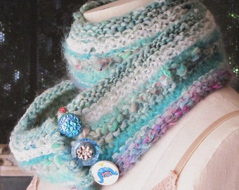 """Striped, Knitted Scarf - """"The Starling's Festival"""""""