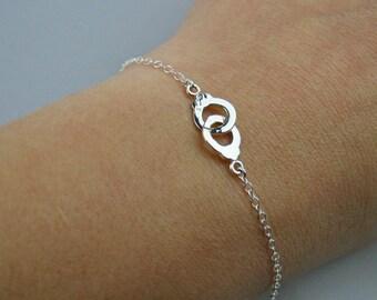 Handcuff Sterling Silver Bracelet - Adjustable Handcuff Bracelet in Sterling Silver
