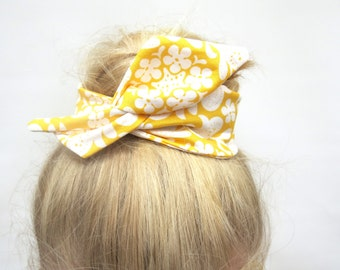Fabric Bun Wrap, Yellow Floral, Wire Hair Accessory for Buns or Pony Tails, Teen-Girl-Woman