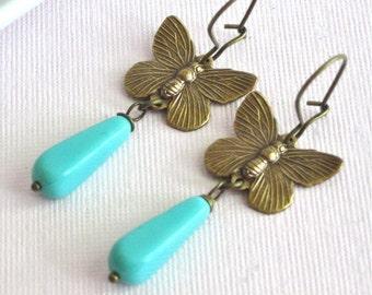 Butterfly Earrings - Turquoise Czech Glass, Brass