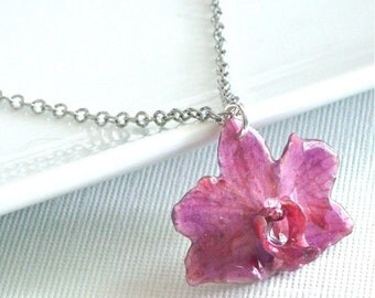 Purple Mini Orchid Necklace - Natural Preserved, Real Flower Jewelry, Sterling Silver