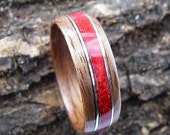 Narrow Bentwood Ring Walnut with Red Coral Inlay and Sterling Silver Accents