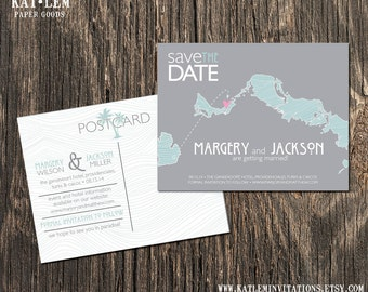 Turks and Caicos – Beach Save the Dates - Destination Wedding - Save the Date Postcard, Magnet
