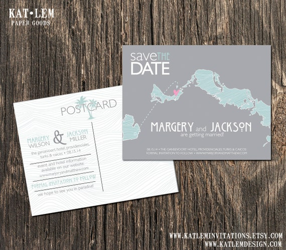 Turks And Caicos Beach Save The Dates Destination Wedding