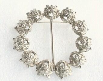 Vintage Silver Lion Sash Pin Large Circle Brooch Vintage Lannister Sigil Antiqued Silvertone Roaring Lion Belt Buckle Scarf Pin