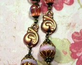 AH HONEY Tickled Pink Long Slender Dangle Earrings Subtle Color Bold Design OOAK