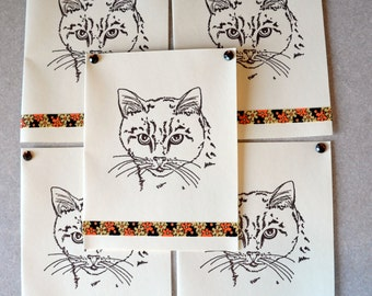 KITTY cat note cards card gift hand crafted 5 pack