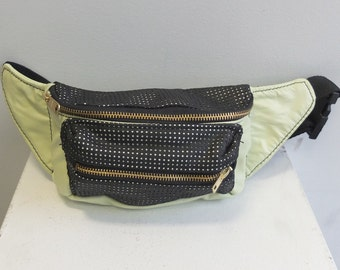 OOAK Mint/Black Perforated Leather Fanny Pack